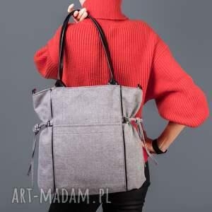 na ramię: Amber - duża torba - shopper - jasnoszara plecionka trendy