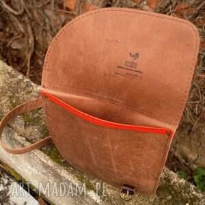 asymetryczna na ramię aria torebka skórzana brąz