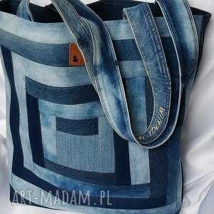 niebieskie na ramię torba bardzo duża z jeansu