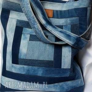 bocho na ramię bardzo duża torba z jeansu