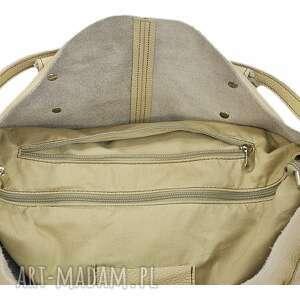 brązowe na ramię modne 30-0010 beżowa torebka skórzana
