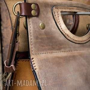 hand made na ramię kolorowa ladybuq brązowa skórzana torebka