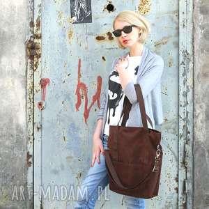 niebanalne na ramię brązowa-torebka brunatna prostokątna torba a4