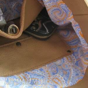 JUTI BAGS camelowa torebka na ramię - skórzana na zakupy
