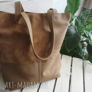 intrygujące na ramię shopper bag camelowa torebka