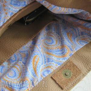 camelowa torebka na ramię - skórzana