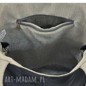handmade na ramię skórzane 16-0030 czarna duża torebka damska