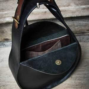 torba skórzana vintage na ramię czarna stylowa torebka do pracy