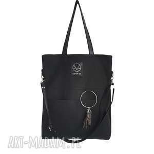 na ramię: Czarna torebka na zamek City Noise Black M - torba miejska praktyczna