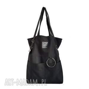 MONEST ATELIER na ramię: Czarna torebka na zamek City Noise Black M - torba miejska weganska