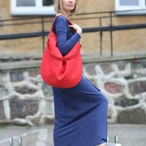 na ramię torba worek czerwona torebka
