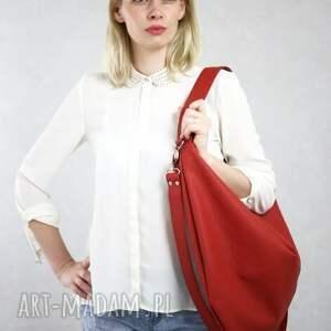 wyjątkowe na ramię torba worek czerwona torebka z eko skóry