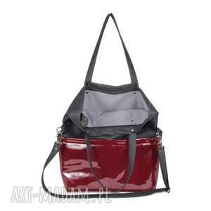 czerwone na ramię torebka damska cube szara