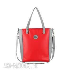czerwone na ramię elegancka damska torebka cuboid jasnoszara z
