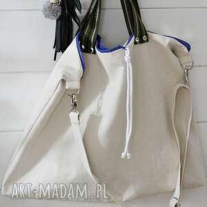 białe na ramię bawełnian duża bawełniana torba