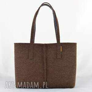 handmade na ramię filc duża brązowa torebka z filcu