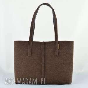 handmade na ramię duża brązowa torebka z filcu