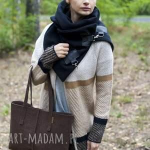 handmade na ramię filcowa duża brązowa torebka z filcu