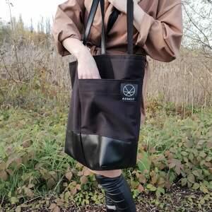 handmade na ramię torba na zamek duża czarna shopper
