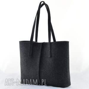czarne na ramię filc duża grafitowa torebka z filcu