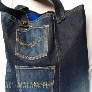 jeans na ramię duża jeansowa torba w kwiaty