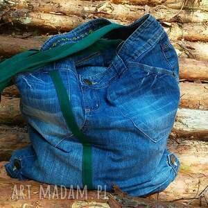 ręcznie zrobione na ramię torba duża jeansowa