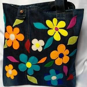 niebieskie na ramię torba duża jeansowa w kwiaty