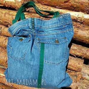 zielone na ramię torba duża jeansowa