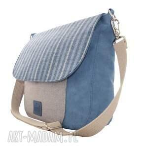 nietuzinkowe na ramię torba duża listonoszka blue navy