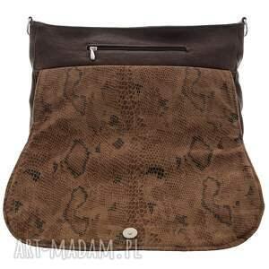 torebka na ramię duża listonoszka brown snake