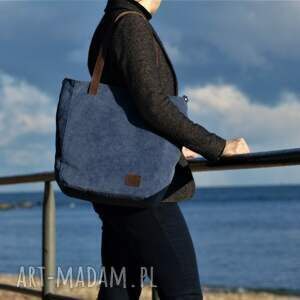 niekonwencjonalne na ramię torba duża niebieska na zamek
