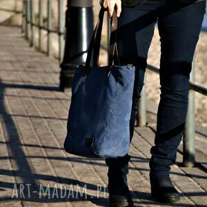 torebka na ramię duża niebieska torba na zamek