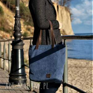 na ramię torebka duża niebieska torba na zamek