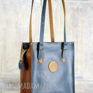 niebieskie na ramię torba ze skóry duża pojemna