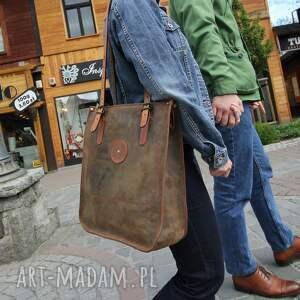 shopperka na ramię duża pojemna torba ze skóry