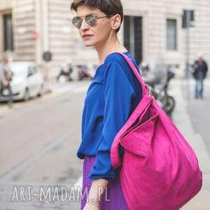 na ramię torba-fuksja duża różowa torba worek fuksja hobo