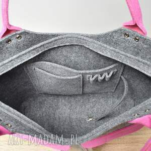 filcowa na ramię duża szara torebka