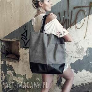 atrakcyjne na ramię shopper duża szara torba