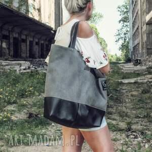 hand made na ramię torba na zamek duża szara na ramie