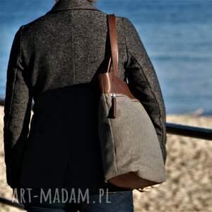 brązowe na ramię torba duża szarobrązowa