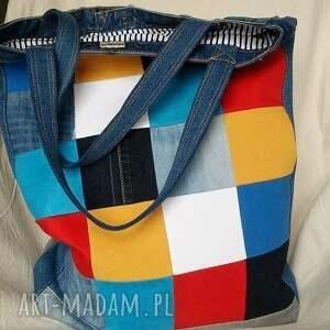 atrakcyjne na ramię torba duża z jeansu szachownica