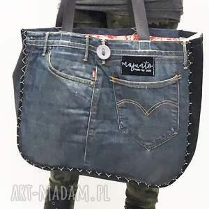atrakcyjne na ramię torba duża upcykling jeans 24 levi