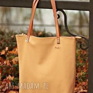 ręczne wykonanie na ramię torba duża - beż