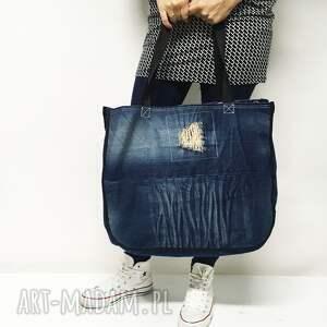 na ramię jeans duża torba upcykling 10