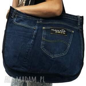 handmade na ramię torba jeans duża upcykling 37 lee