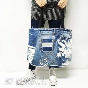 białe na ramię duża torba upcykling jeans