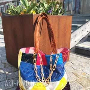 Gabiell handmade na ramię torba duża z jeansu plus kolorowy