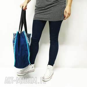 na ramię jeansowa torba duża upcykling jeans