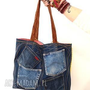 handmade na ramię patchwork duża torba z jeansu plus kolorowy