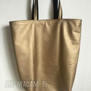 boho na ramię złote duża torba miejska złota